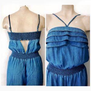bebe Pants - NEW BEBE CHAMBRAY BLUE SMOCKED JUMPSUIT SZ M